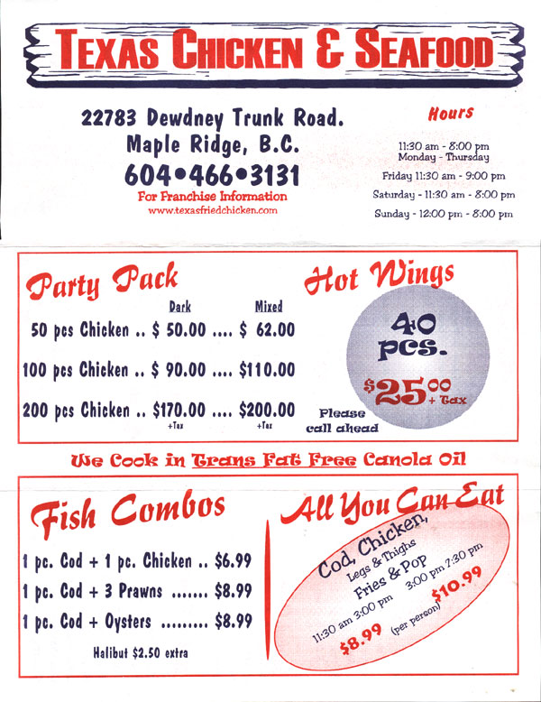 Texas Fried Chicken Menu Texas Fried Chicken Menu